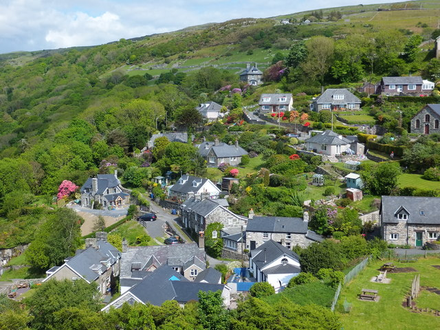 Harlech houses spread out up the hill