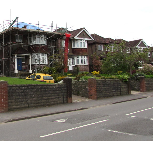 Pillmawr Road house under scaffolding, Malpas, Newport