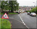ST3090 : Warning sign - roadworks ahead, Laurel Crescent, Malpas, Newport by Jaggery