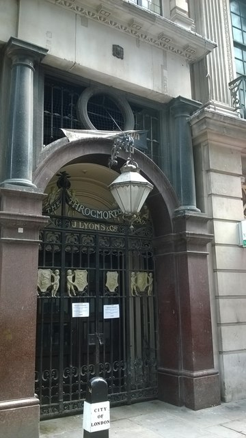 Restaurant entrance, Throckmorton Street, EC2