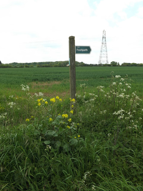 Footpath sign off Clay Lane
