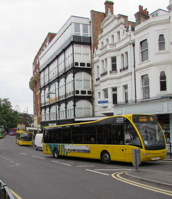 Yellow buses in Bournemouth town centre