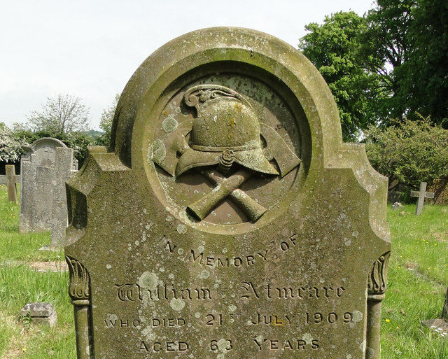 Detail of William Atmeare's headstone