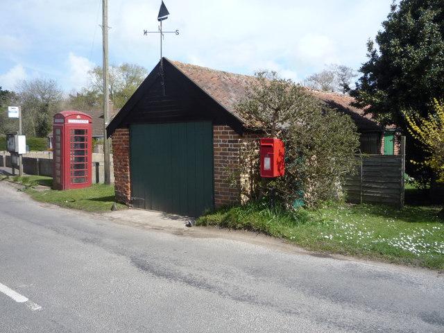 Elizabeth II postbox and phonebox on The Street, Lessingham