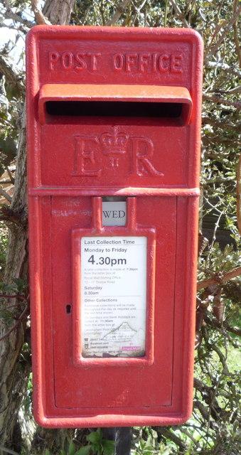 Close up, Elizabeth II postbox on The Street, Lessingham