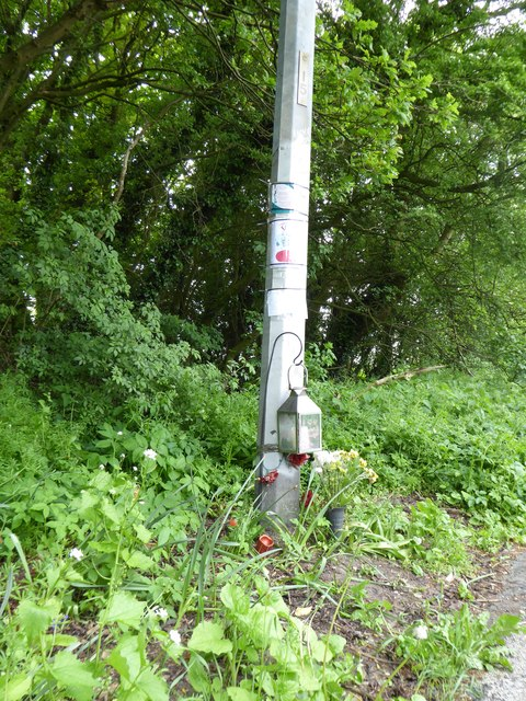 Roadside memorial on the A5011