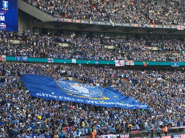 The Sheffield Wednesday supporters' flag © Graham Hogg cc-by-sa/2.0 :: Geograph Britain and Ireland