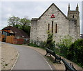 SZ0891 : Red triangle on a former church,  Bournemouth by Jaggery