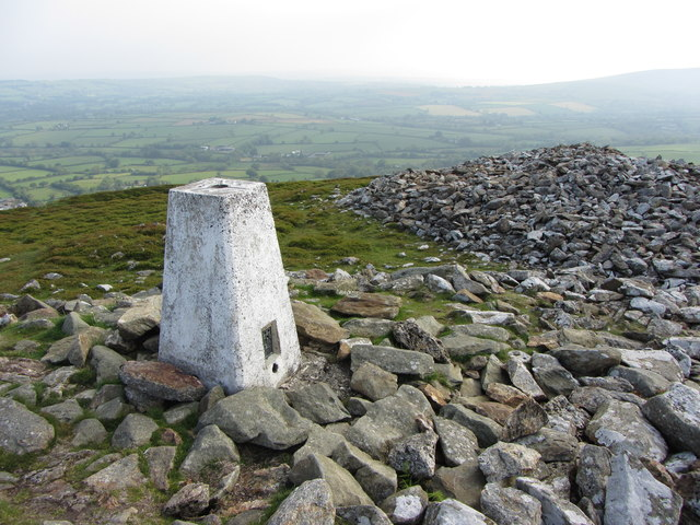 Trig point on Foel Drygarn, looking east