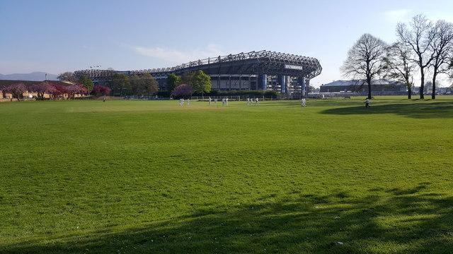 Cricket in Roseburn Park and Murrayfield Stadium