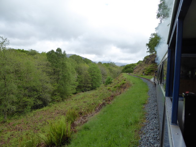 Ravenglass and Eskdale railway in the woods below Muncaster Fell