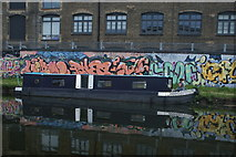 TQ3784 : View of a narrowboat moored on the River Lea near Stratford by Robert Lamb