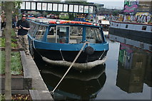 TQ3784 : View of a narrowboat moored on the River Lea near Stratford #2 by Robert Lamb