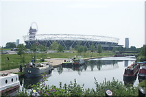 TQ3784 : View of the Olympic Stadium from the River Lea towpath by Robert Lamb