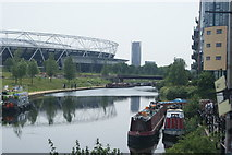 TQ3784 : View along the River Lea from the towpath near White Post Lane by Robert Lamb