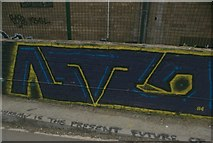 TQ3784 : View of street art on the towpath of the River Lea by Robert Lamb