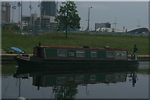 TQ3784 : View of a narrowboat moored on the River Lea near Stratford #3 by Robert Lamb