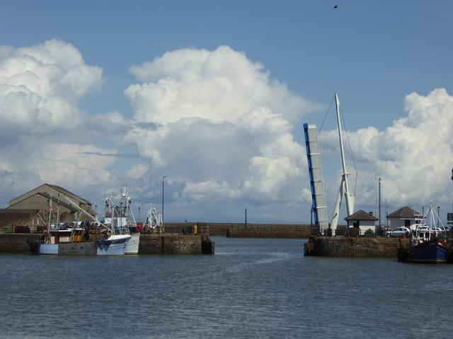 Footbridge across the dock left open on a Sunday in Maryport