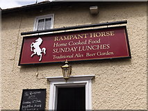 TM0954 : The Rampant Horse Inn Public House sign by Adrian Cable