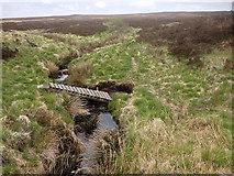 SD9620 : Collapsed Bridge over Moorland Stream by David Dixon