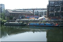"""TQ3783 : View of the Plough Cafe and """"The Great Stage"""" street art from the River Lea towpath by Robert Lamb"""