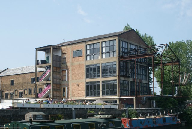 View of the Plough Cafe from the River Lea towpath #2