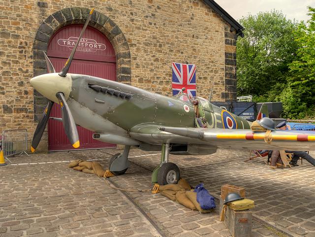 Replica Spitfire outside Bury Transport Museum