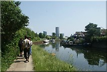 TQ3783 : View of Capital Towers next to the Bow Flyover from the River Lea by Robert Lamb