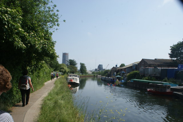 View of Capital Towers next to the Bow Flyover from the River Lea #2