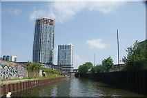 TQ3783 : View of Capital Towers next to the Bow Flyover from the River Lea #4 by Robert Lamb