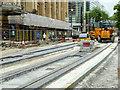 SJ8398 : Metrolink Second City Crossing Work Outside the Royal Exchange on Cross Street by David Dixon