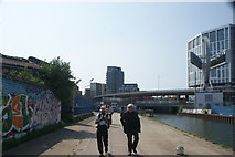 TQ3783 : View of Bow Baptist Church and The View apartments from the River Lea Navigation by Robert Lamb