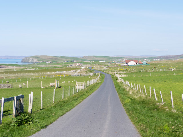 The road from Huxter to Sandness