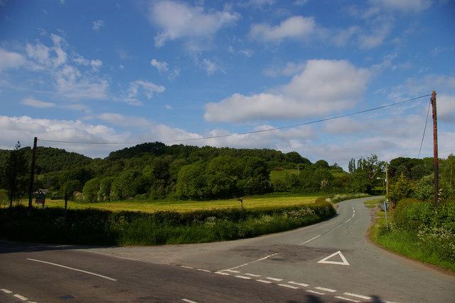 Bickerton crossroads, from the churchyard
