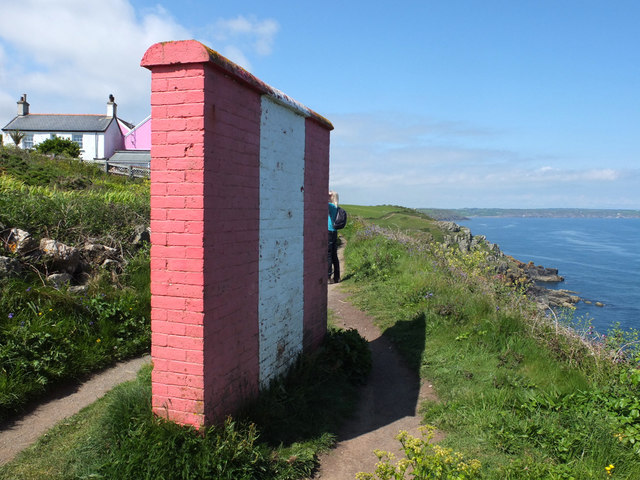 Red and white marker wall at Bass Point