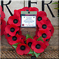 SU4806 : Wreath on Combined Operations memorial, Warsash by Peter Facey