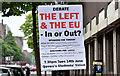 "J3374 : EU referendum ""remain/leave"" poster, Belfast (June 2016) by Albert Bridge"