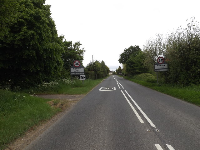 Entering Norton on the A1088