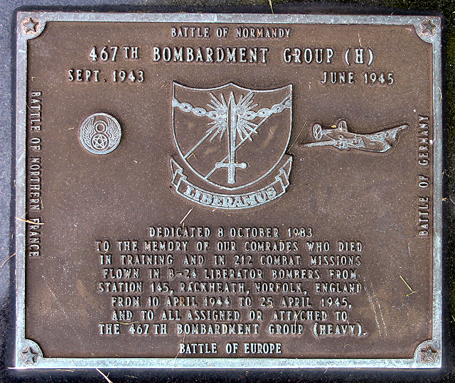 467th Bomb Group memorial plaque