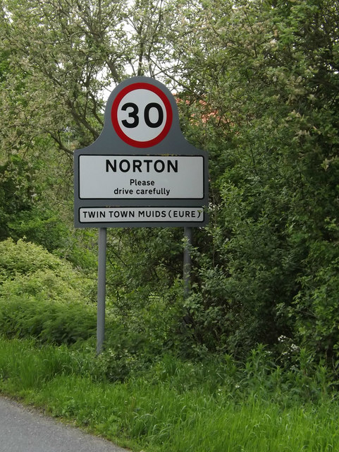 Norton Village Name sign on the A1088
