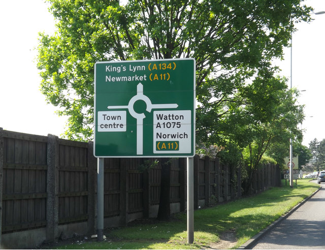 Roadsign on the A1066 Thetford Road