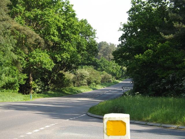 A134 Mundford Road & Rugby Club sign
