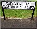 SO3204 : Folly View Close/Clos Trem y Ffoledd name sign, Penperlleni by Jaggery