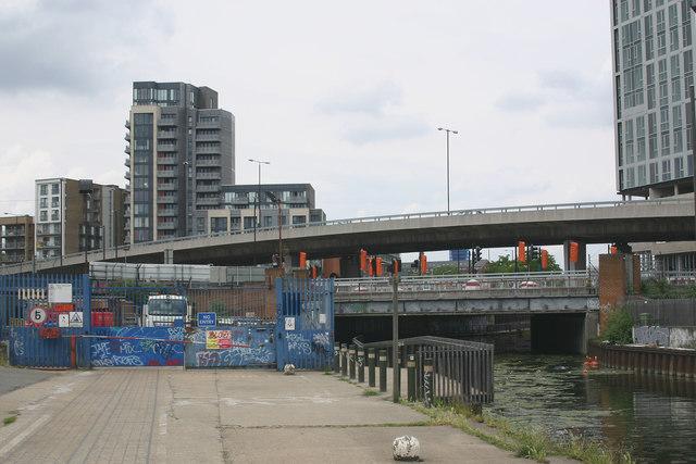 River Lea (or Lee) at Bow Interchange, Stratford