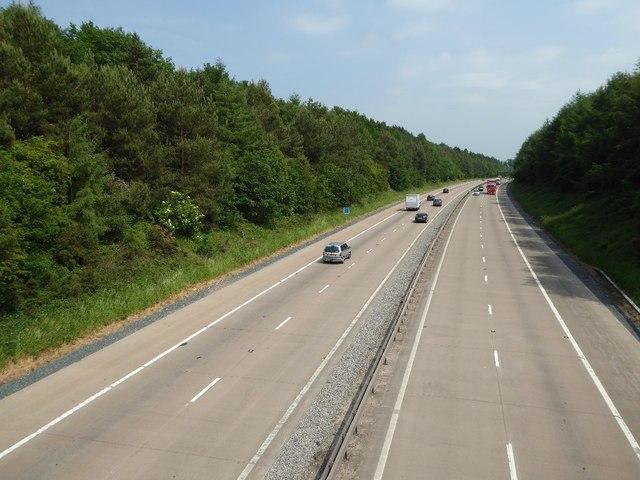 The M54 passing through Big Wood