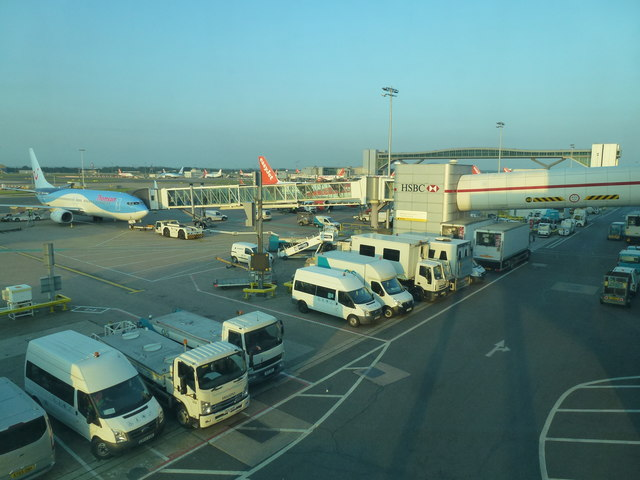 Service vehicles at London Gatwick Airport North Terminal