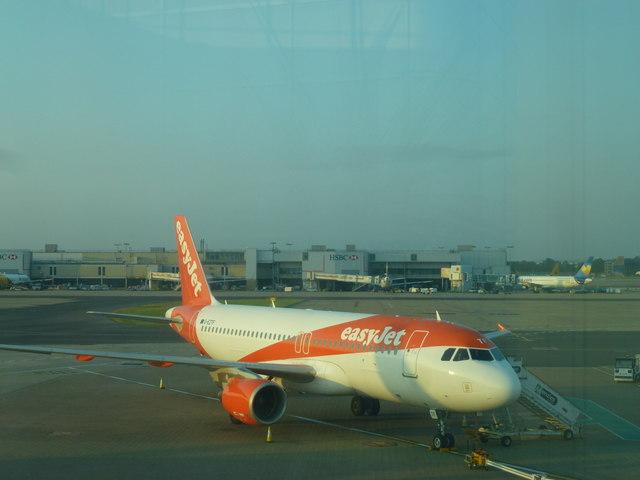 easyJet aeroplane at London Gatwick North Terminal