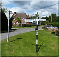 SP8422 : Signpost in the centre of Cublington by Mat Fascione