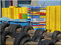 SW4628 : Colourful boxes - Newlyn Harbour by Chris Allen