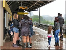 SJ8297 : Waiting for a tram at Cornbrook by Gerald England